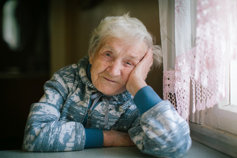 Portrait of elderly woman. Age 90 years old.