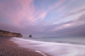 Pink glow at Freshwater Bay, Isle of Wight