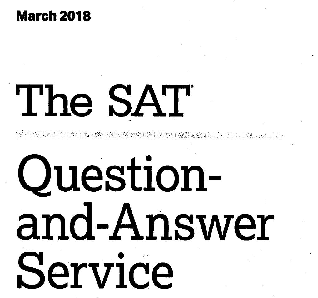 March 2018 SAT Test