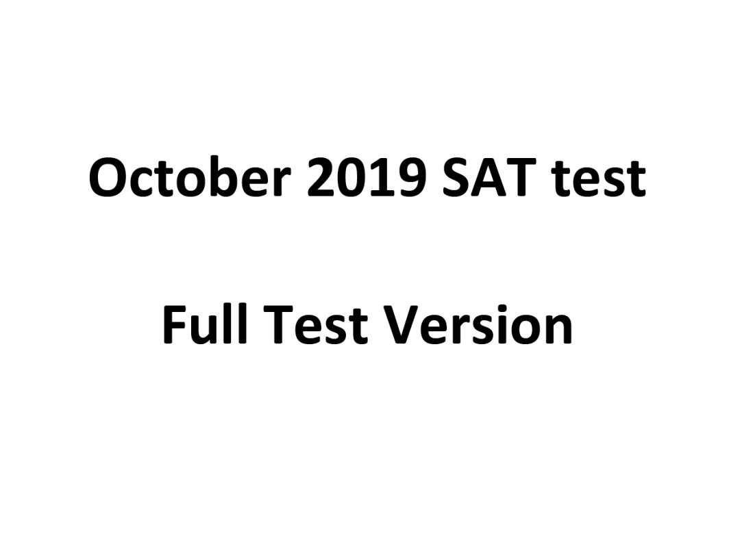 October 2019 SAT Test