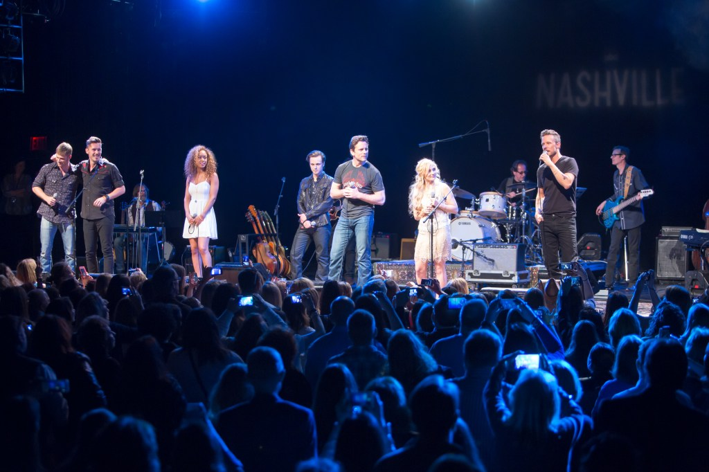 (l-r) Chris Carmack, Sam Palladio, Chaley Rose, Jonathan Jackson, Charles Esten, Clare Bowen, Will Chase  Photo By: Chris Hollo
