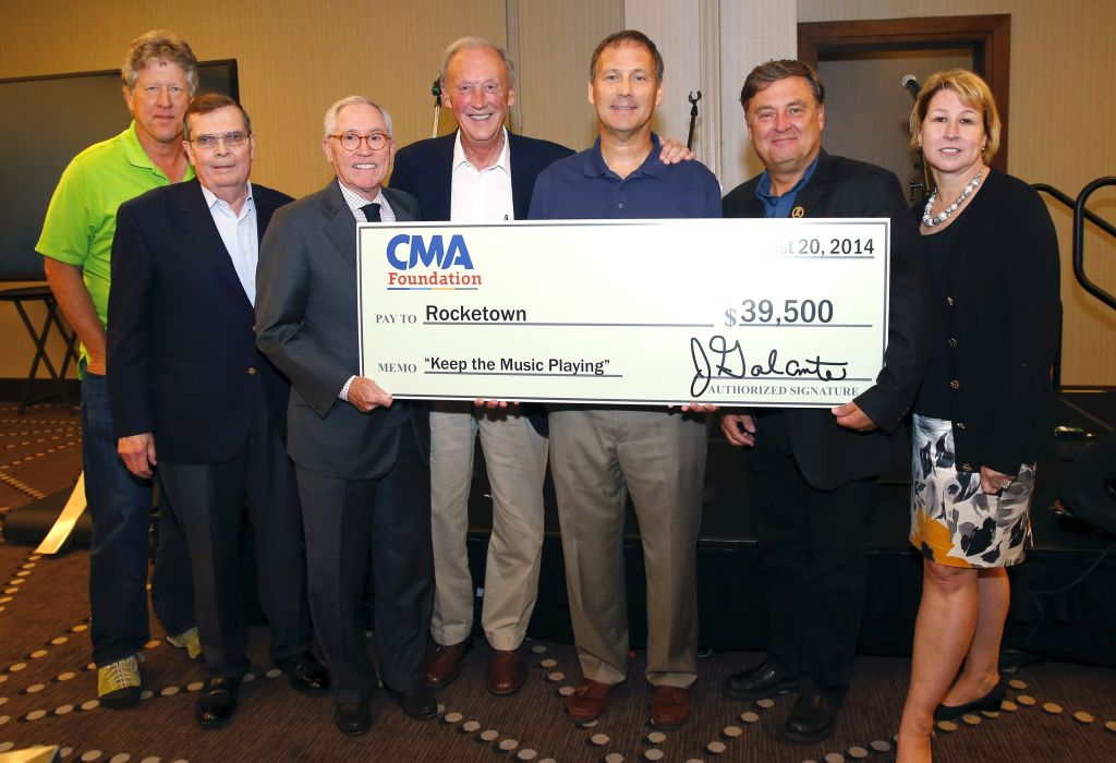 (l-r) John Huie, co-Head CAA Nashville and CMA Foundation Board member; Ed Hardy, CMA Board Chairman; Ron Samuels, Chairman & CEO of Avenue Bank and CMA Foundation Vice Chairman; Frank Bumstead, Chairman of Flood, Bumstead, McCready & McCarthy, Inc. and CMA Board President; Jim Mallory, Executive Director of Rocketown; Lon Helton, publisher and CEO of Country Aircheck and CMA Foundation Board member; Sarah Trahern, CMA CEO. Photo Credit: Donn Jones / CMA