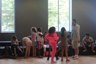 The campers engaging in a fun activity