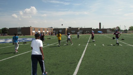The campers playing Football