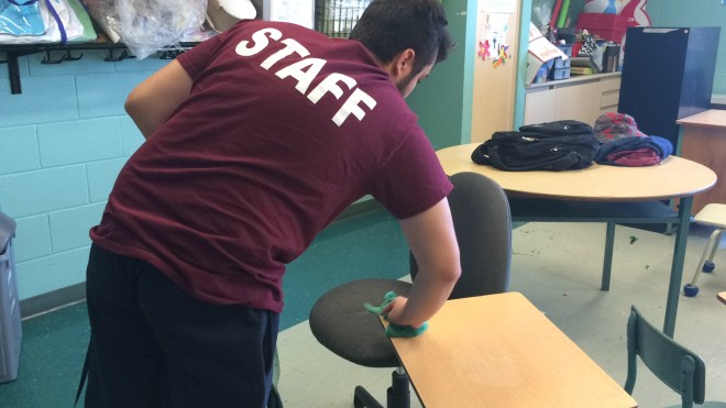 FOY Custodian, Anthony Romano-Pappas, working at St. Jane Francis school placement