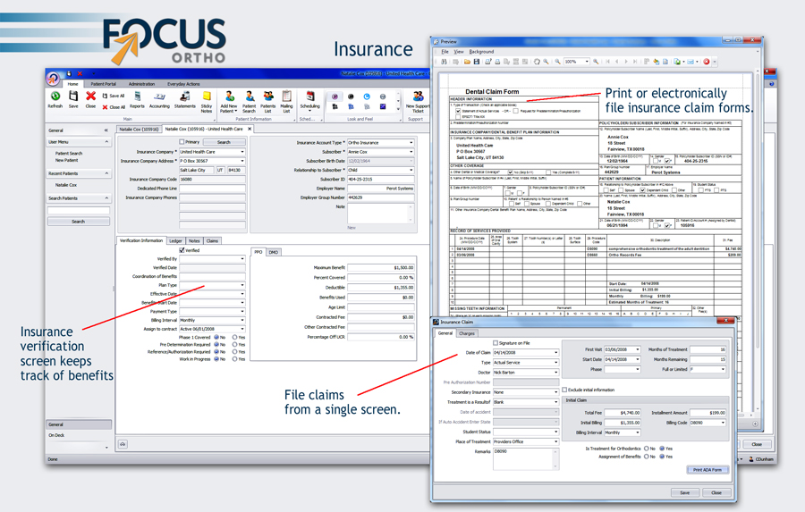 focus ortho insurance example