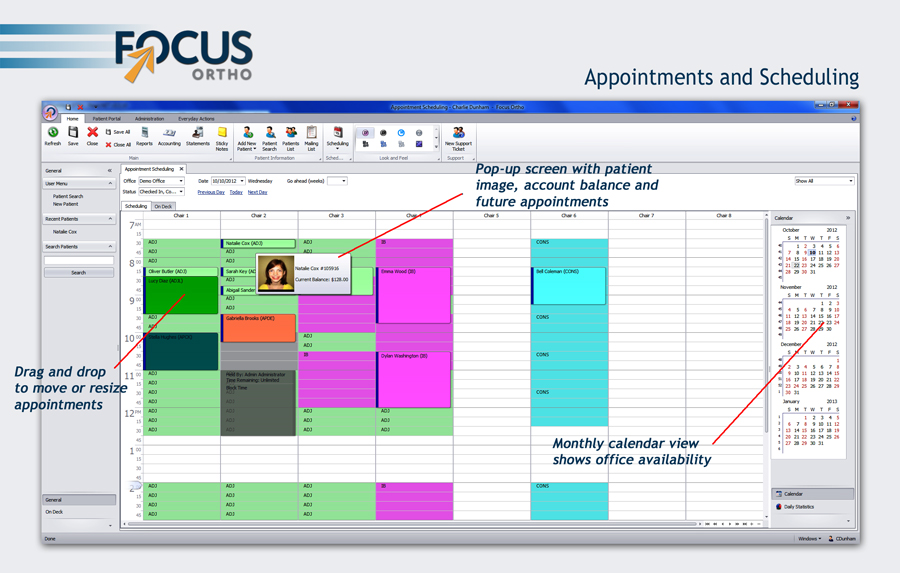 focus ortho appointment scheduling example