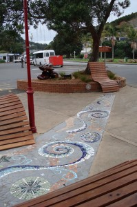 The mosaic was completed in 2011; the welcome garden and dolphins in 2012