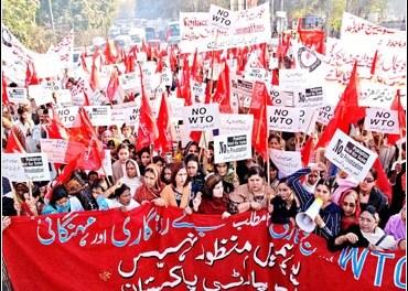 Labour Party Pakistan organizes 5000 strong anti-WTO rally Lahore