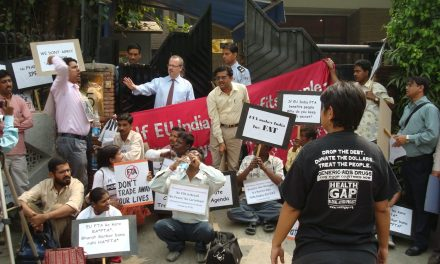 EU-INDIA FTA: PUBLIC INTEREST GROUPS DETAINED DURING PROTEST