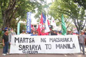 AT SARIAYA, QUEZON. The March of the Farmers was launched at the municipality of Sariaya, Quezon. Walden Bello, known legislator and agrarian reform and rural development advocate, also one of the founders of Focus on the Global South and now a senatorial candidate in the Philippines, joined the farmers in their march. Photo by Galileo de Guzman Castillo. Municipality of Sariaya, Province of Quezon. 11 April 2016.