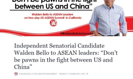 "Independent Senatorial Candidate Walden Bello to ASEAN leaders: ""Don't be pawns in the fight between US and China"""