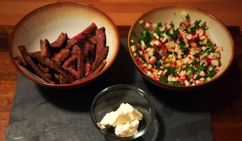 Steak tacos with radish salsa