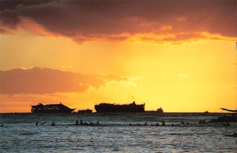 Sunset over Cruise Ships ~ Waikiki
