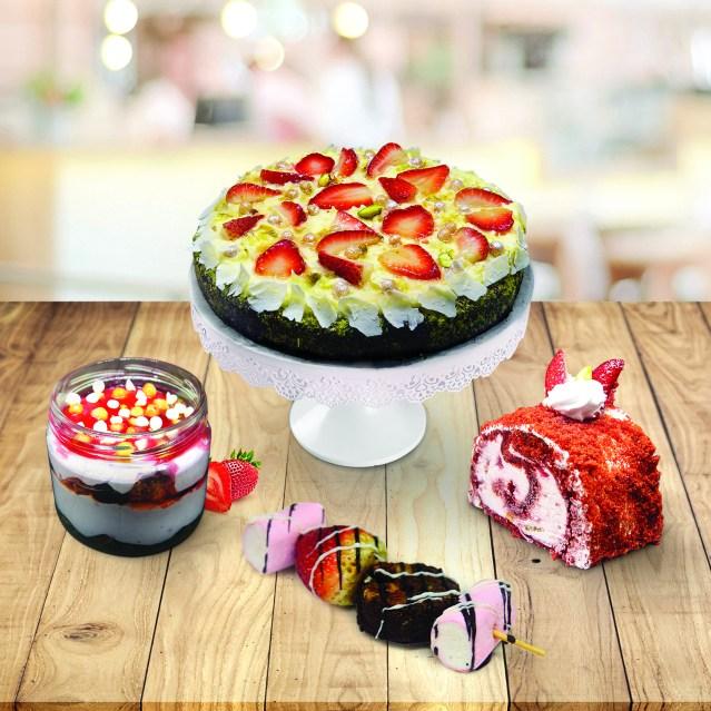 On Table - Strawberry Roulade, Dessert Kebab,Red Velvet Gateaux, Strawberry Cheesecake
