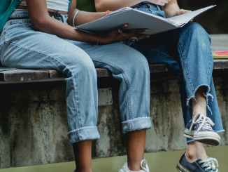 crop faceless diverse schoolgirls reading textbook on pier in park
