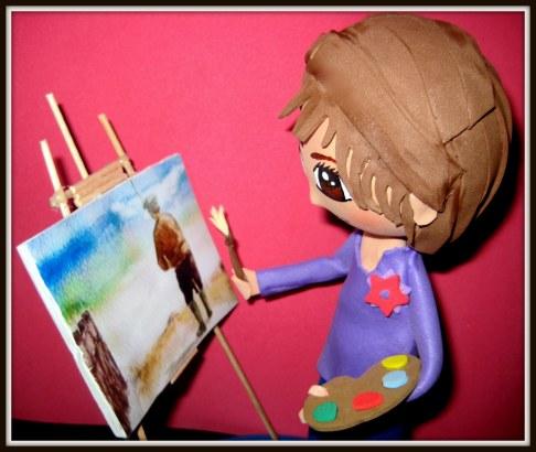 Fofucha Aurora pintora detalle