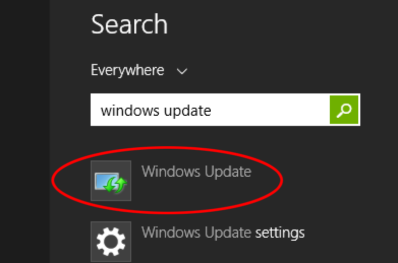 Search for the Windows update application