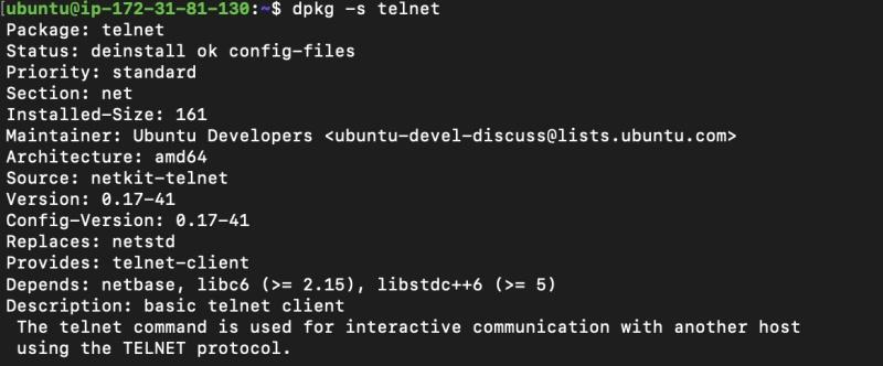 Verify the telnet client is not installed