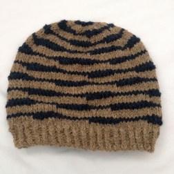 striped beanie blue taupe hat knit stripes striped hat dude hat for him guy hat boyfriend hat