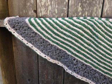 muh muh shawl stripes green tweed taria tweed plymouth tweed