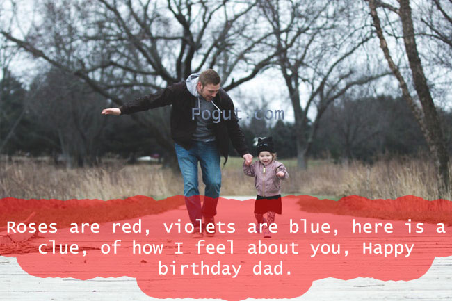Roses are red, violets are blue, here is a clue, of how I feel about you, Happy birthday dad.