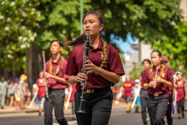 castle-high-school-band-clarinet-floral-parade-2019-aloha-festivals-fokopoint-honolulu-9669 73rd Annual Floral Parade