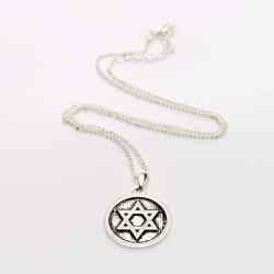 Colier Steaua lui David incadrata in cerc argintat
