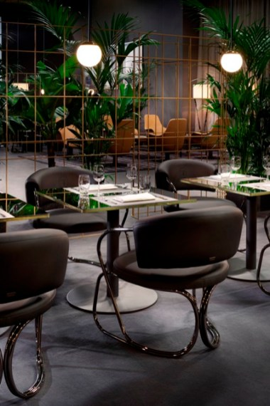 Cafè Trussardi, A-Round armchair, Cafè table and Cherries light