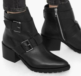 8490 Buckle leather ankle boots mng