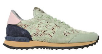 ROCKSTUD LACE & SUEDE SNEAKERS valentino