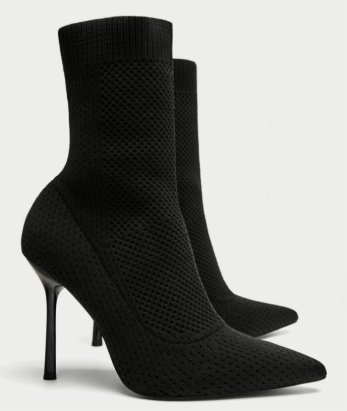 6490 zara STRETCH FABRIC HIGH HEEL ANKLE BOOTS
