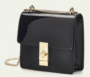 md CONTRASTING LEATHER CROSSBODY BAG WITH CHAIN DETAIL 9900