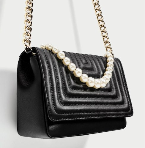 zara LEATHER CROSSBODY BAG WITH FAUX PEARL DETAILS 6990
