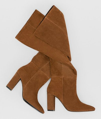 Brown leather XL high heel boots 9990