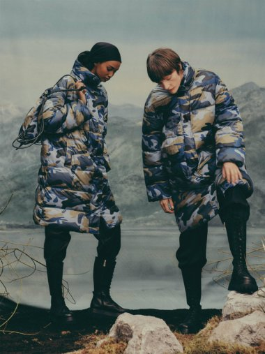 puffer camouflage coat