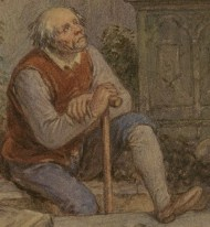 An drawing of the Gravedigger by artist John Massey Wright, late 18th century or 19th century.