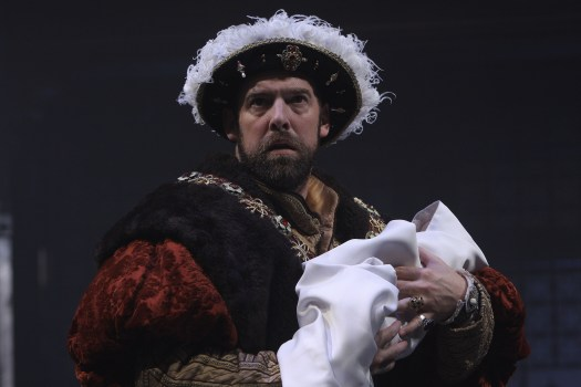 Ian Merrill Peakes as Henry VIII with the baby Elizabeth I. Shakespeare's Henry VIII directed by Robert Richmond. Folger Theatre, 2010.
