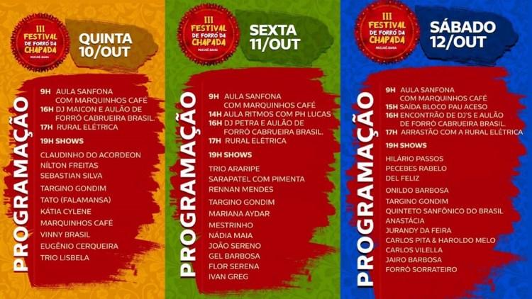 Confia a programação do III Festival de Forró da Chapada
