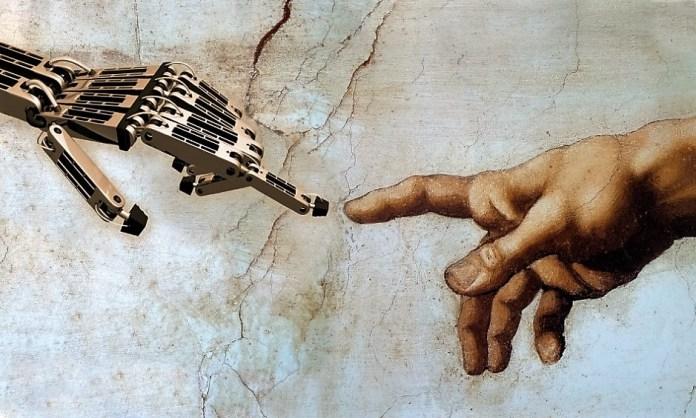 Criação da inteligência artificial - analogia a obra de Michelangelo