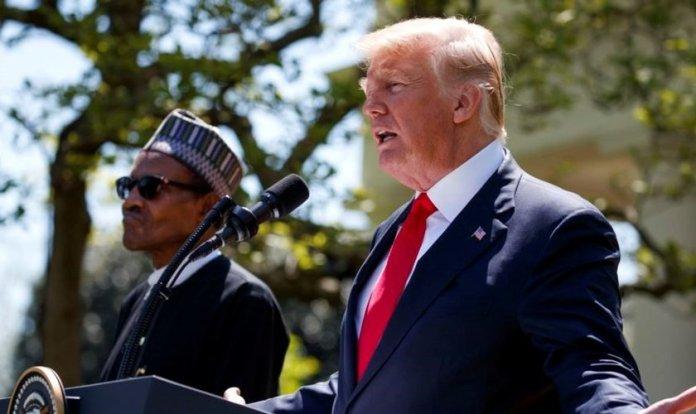 Presidente dos EUA, Donald Trump e o presidente nigeriano Muhammadu Buhari. (abril 2018)