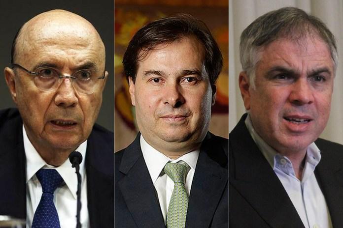 Henrique Meirelles (MDB), Rodrigo Maia (DEM) e Flávio Rocha (PRB)