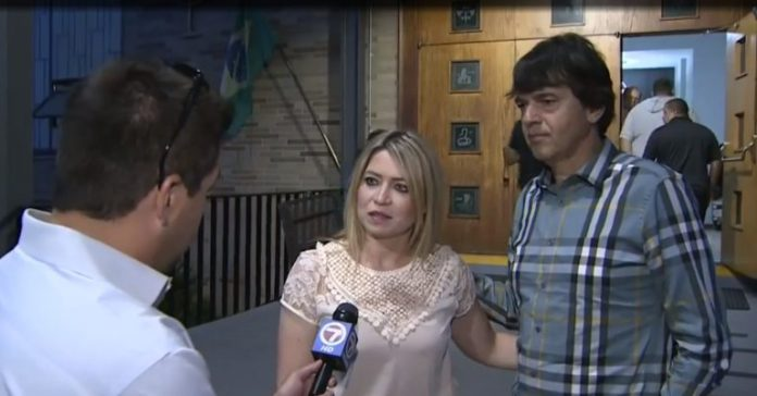 Elaine de Jesus e Alexandre Silva concedem entrevista ao canal 7 News Boston sobre o incêndio na casa do casal
