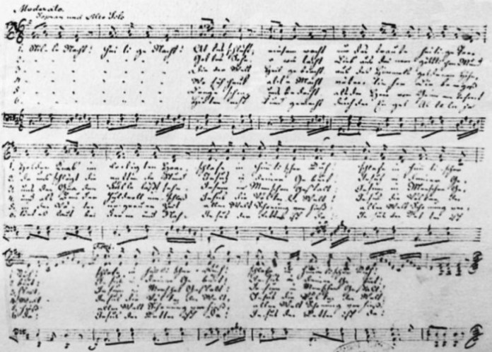 Uma cópia, por volta de 1860, da canção de Natal Stille Nacht (Noite Feliz, em português), autografada por Franz Xaver Gruber (1787-1863), compositor da melodia da canção de natal.   Wikimedia Commons