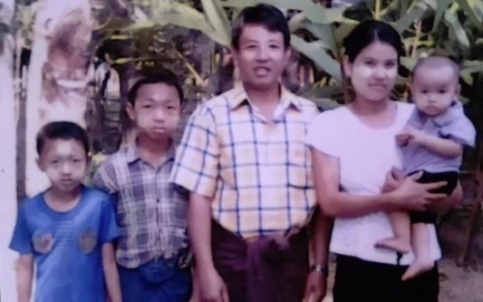 Pastor Tun Nu com sua esposa e três filhos, em Mianmar