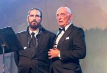 Atores Jim Caviezel e James Faulkner no Movieguide Awards 2019, em Los Angeles, Califórnia, 8 de fevereiro de 2019.