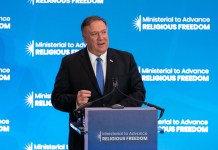 Secretário de Estado dos EUA, Michael Pompeo, dirige Conferência sobre Liberdade Religiosa - julho 2019