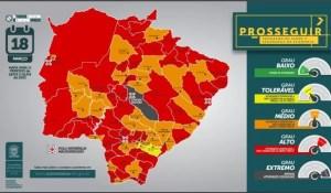 Read more about the article MS tem 44 municípios na bandeira vermelha e Campo Grande entra na cor cinza, de risco extremo