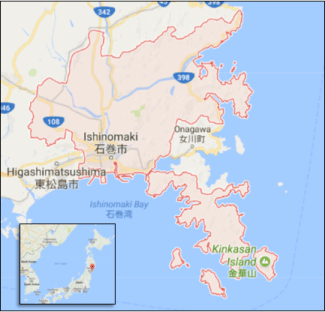 Screen capture of map of Japan
