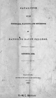 Image of the RMC College Catalog, 1839